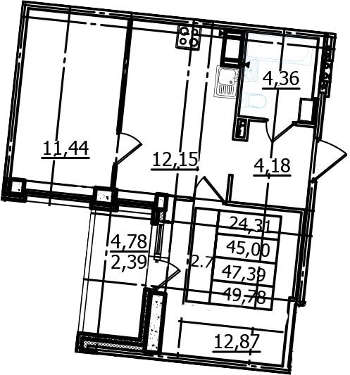 2-к.кв, 45 м²
