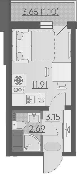 Студия, 18.85 м²