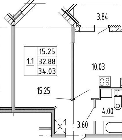 1-комнатная, 32.3 м²– 2