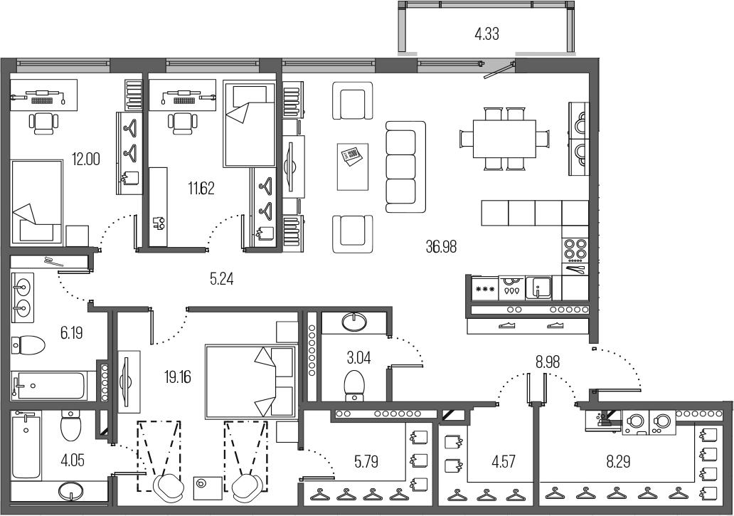 4Е-комнатная, 125.91 м²– 2