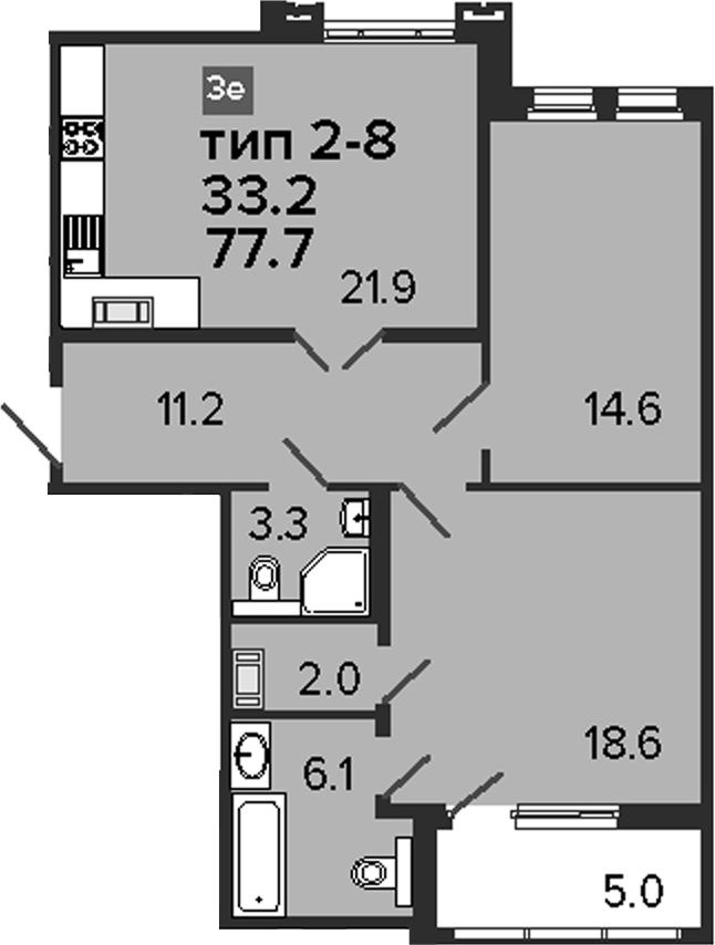 3Е-комнатная, 77.7 м²– 2