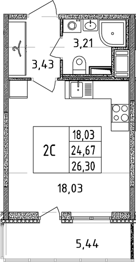 Студия, 24.74 м²– 2
