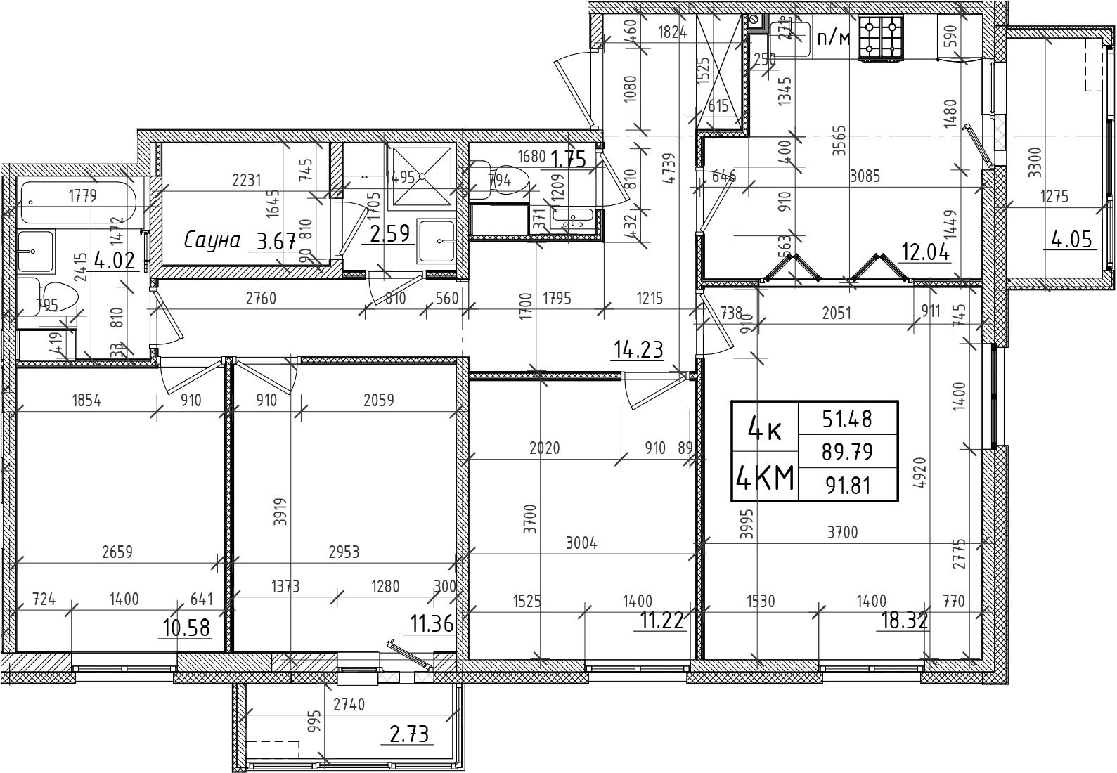 4-к.кв, 89.79 м²