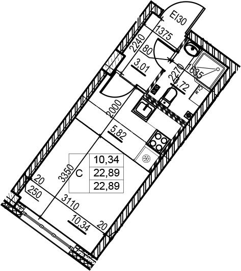 Студия, 22.89 м²