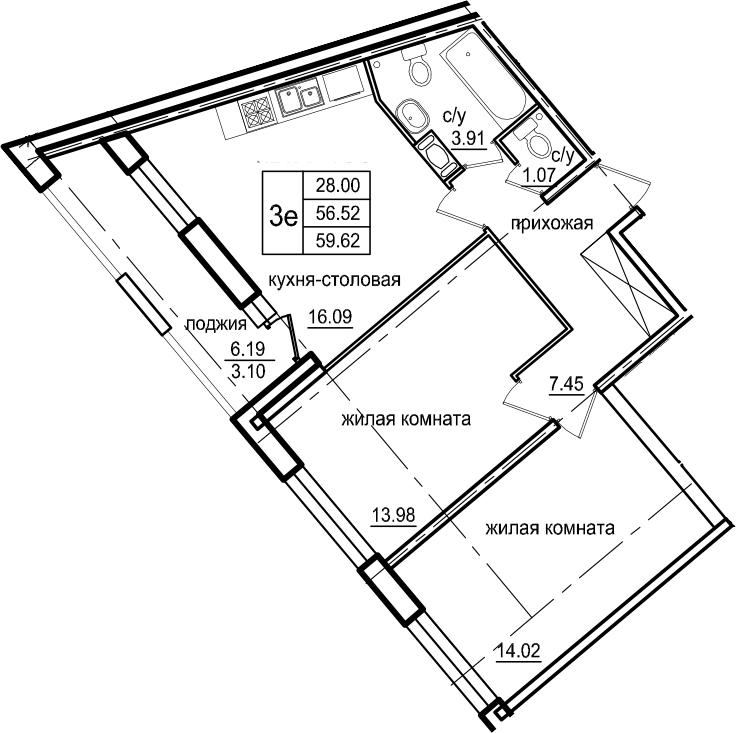 3-к.кв (евро), 62.72 м²
