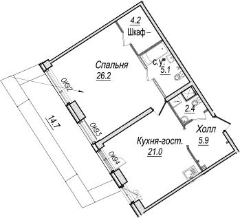 2Е-комнатная, 69.2 м²– 2