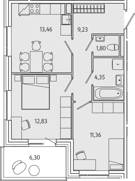 2-к.кв, 54.93 м²