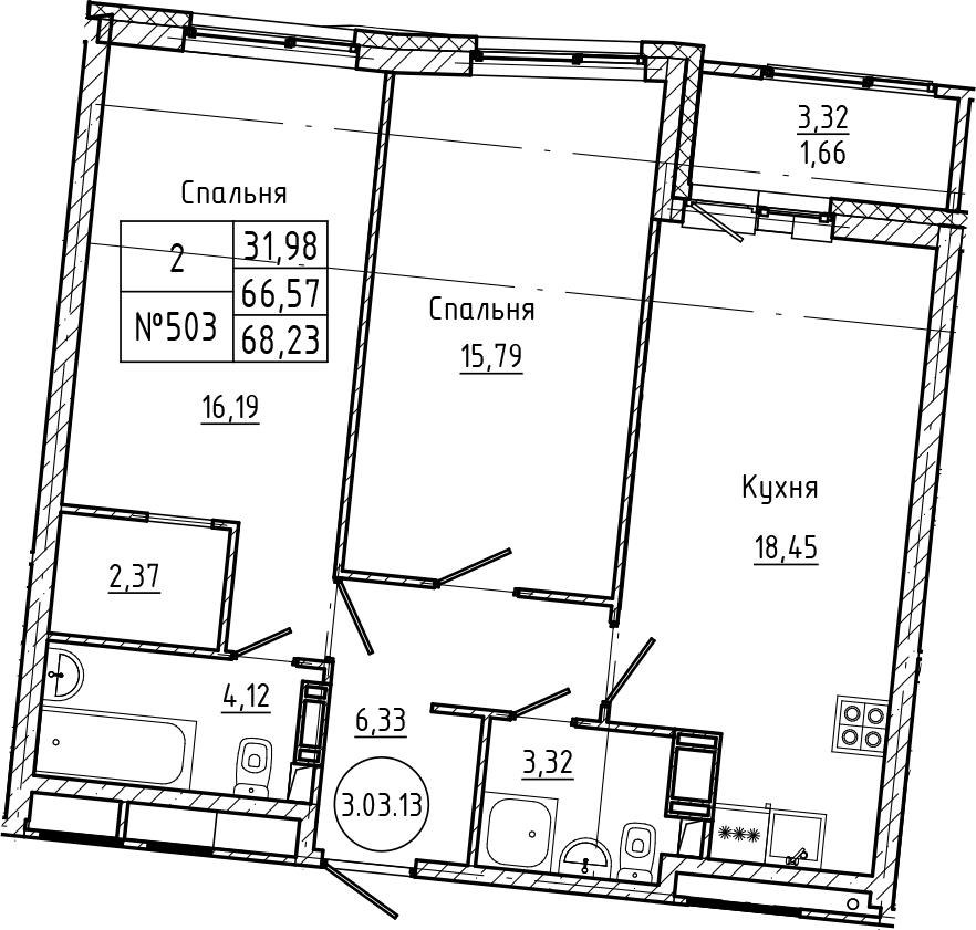 3Е-комнатная, 68.23 м²– 2