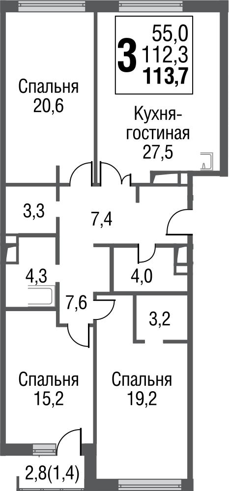 4Е-к.кв, 113.6 м²