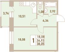 1-комнатная, 38.05 м²– 2