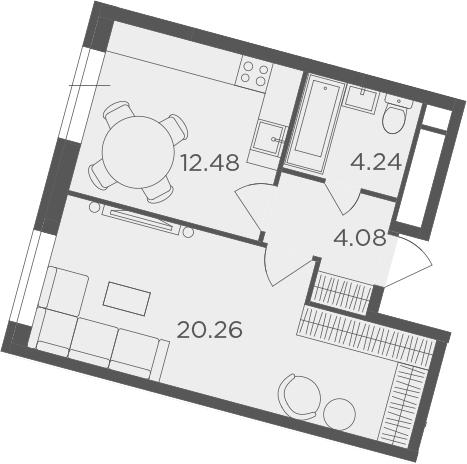 1-к.кв, 41.06 м²
