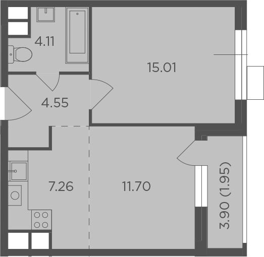 2Е-комнатная, 44.58 м²– 2