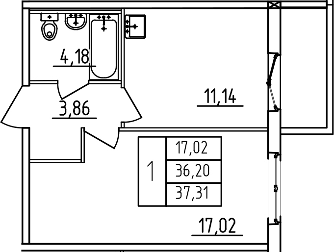 1-к.кв, 37.31 м², 2 этаж