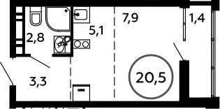 Студия, 20.5 м²