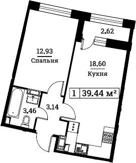 2Е-к.кв, 39.44 м², от 2 этажа