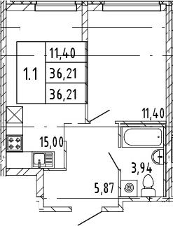2Е-комнатная квартира, 36.21 м², 4 этаж – Планировка