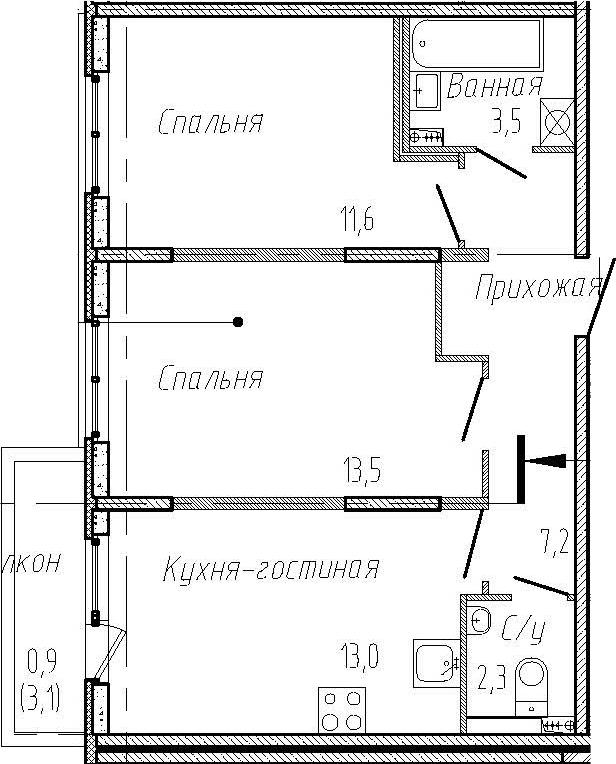 2-комнатная, 51.1 м²– 2