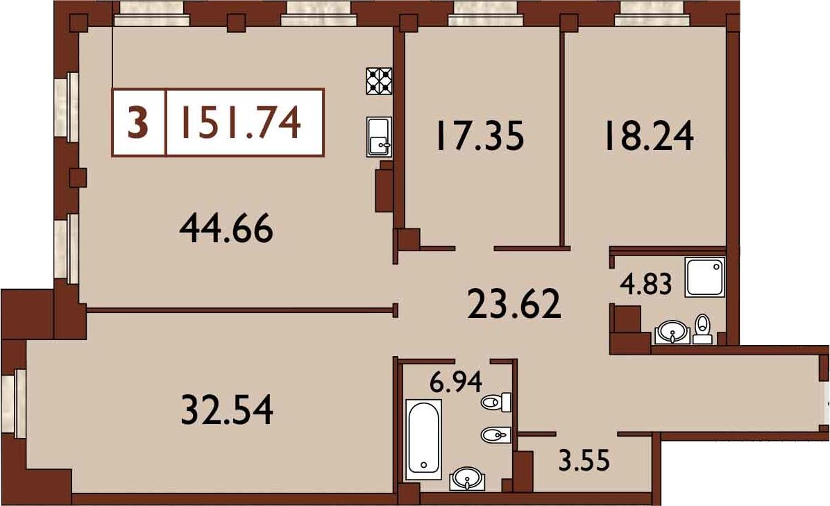 4-к.кв (евро), 153.51 м²