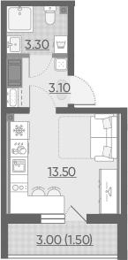 Студия, 21.4 м², 17 этаж
