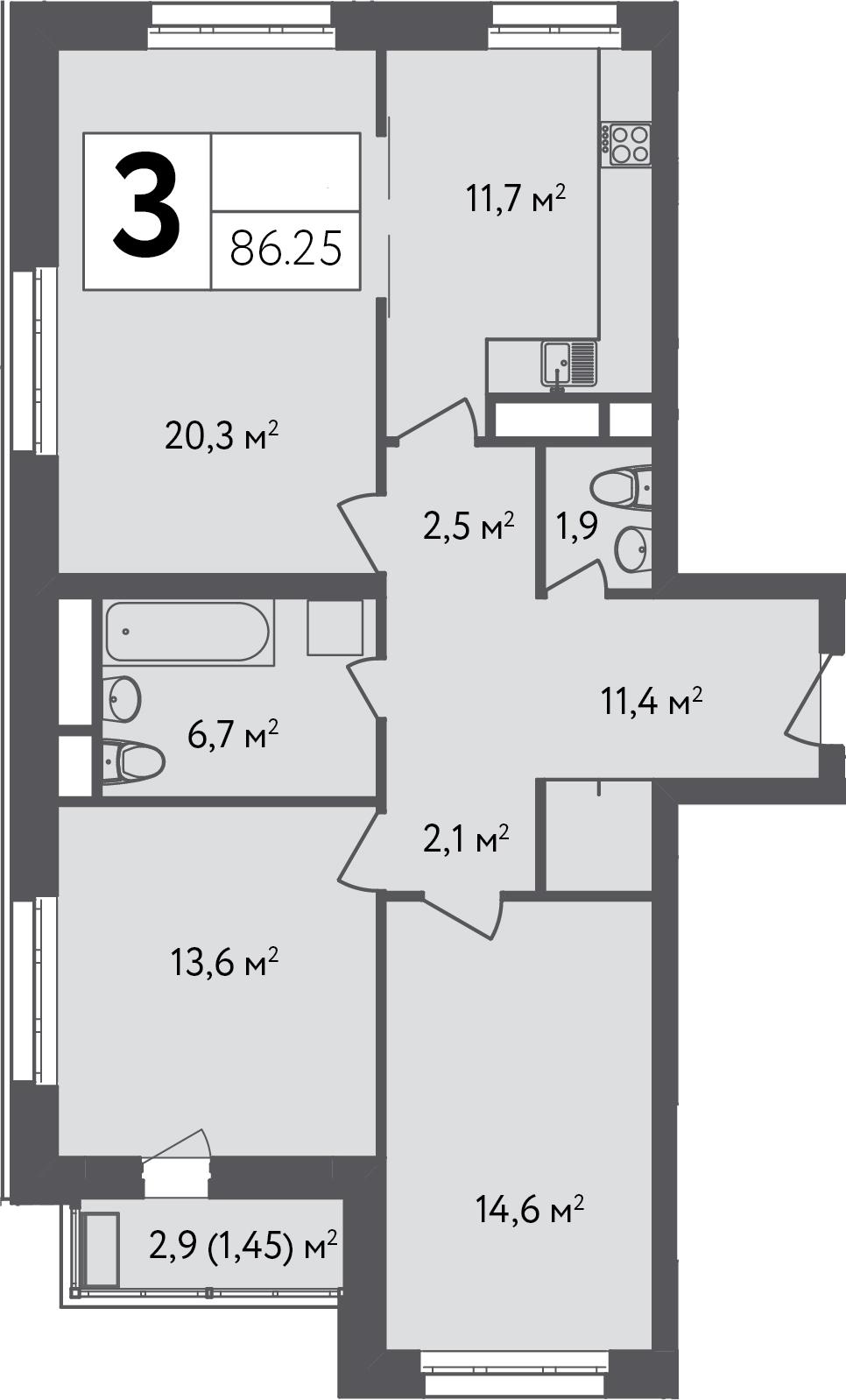 3-к.кв, 87.7 м²