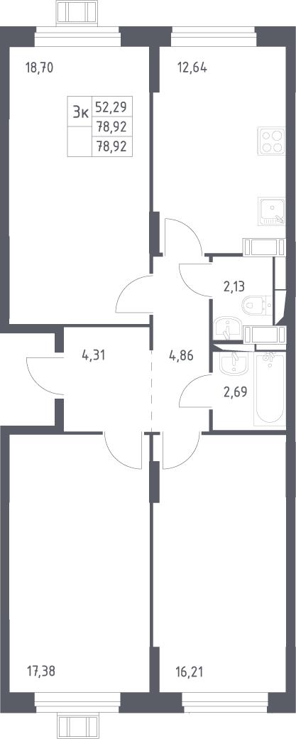 3-к.кв, 78.92 м²