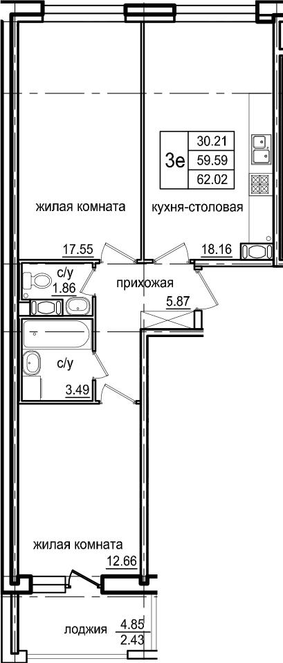 3Е-к.кв, 62.02 м²