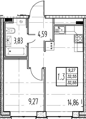 2Е-комнатная, 32.55 м²– 2