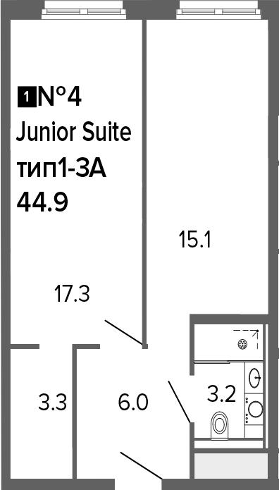 2-к.кв (евро), 44.9 м²