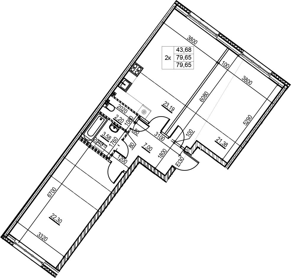 3Е-комнатная, 79.65 м²– 2
