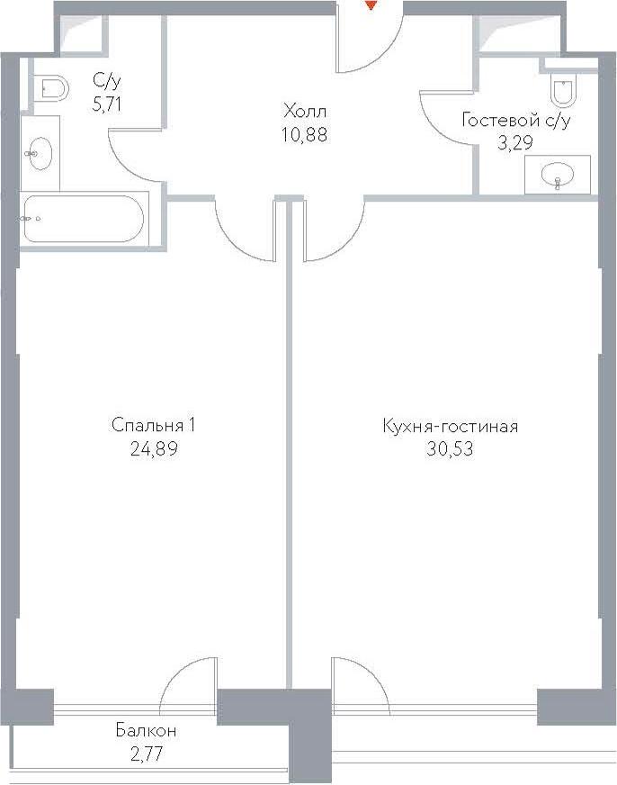 2Е-комнатная, 78.07 м²– 2