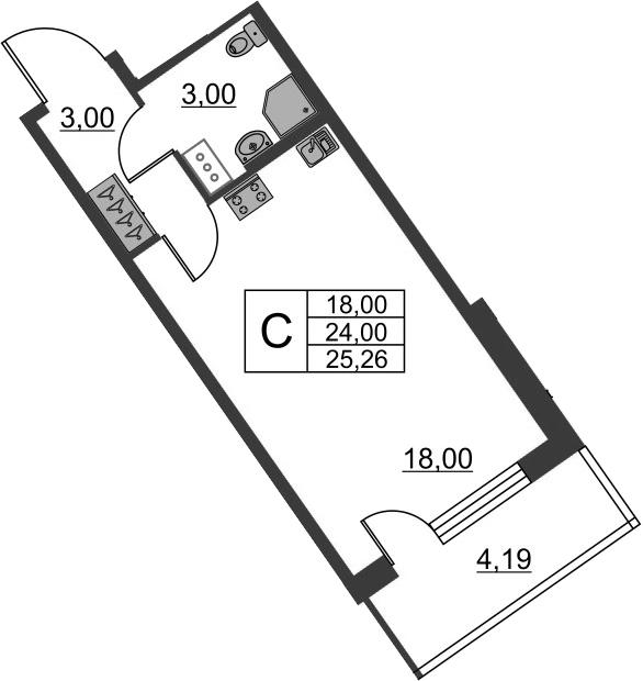 Студия, 28.19 м²