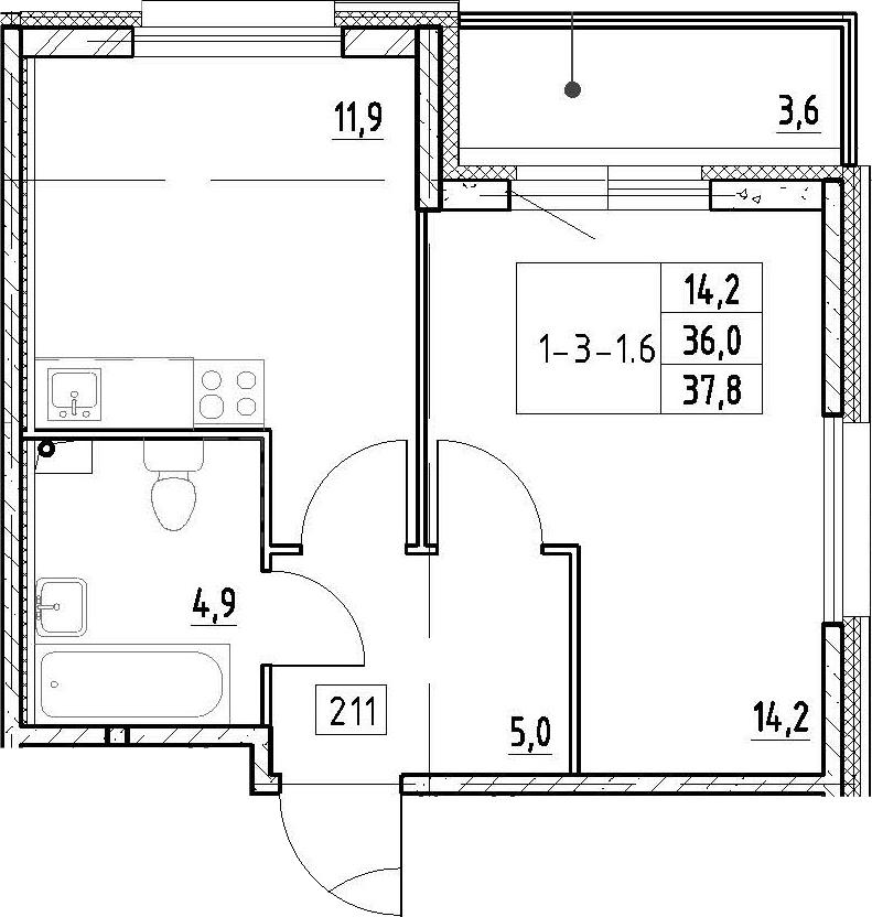 1-к.кв, 37.8 м², 1 этаж