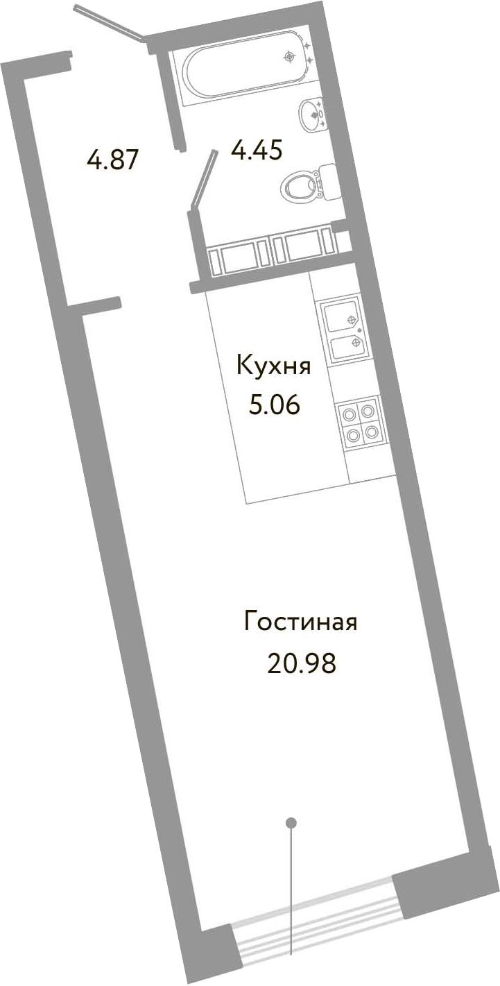 Студия, 35.36 м², 4 этаж
