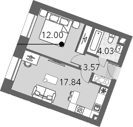 2Е-к.кв, 37.44 м², 12 этаж