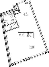 Студия, 34.3 м²