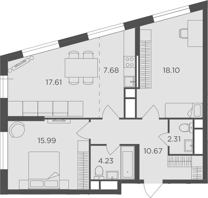 3Е-комнатная, 76.59 м²– 2