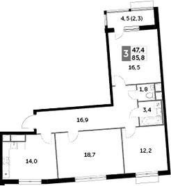 3-к.кв, 85.8 м², 6 этаж
