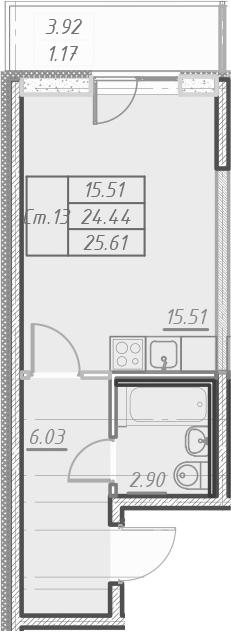 Студия, 28.34 м²