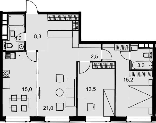3-комнатная, 83.1 м²– 2
