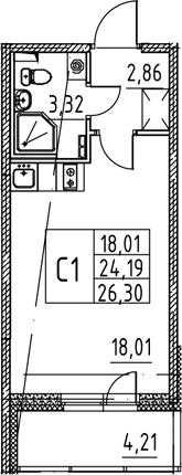 Студия, 24.19 м², 2 этаж