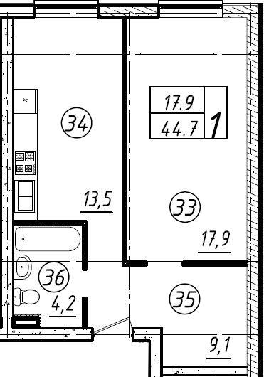 1-комнатная, 44.3 м²– 2