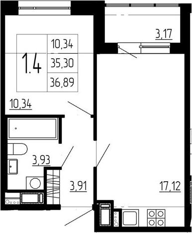2-к.кв (евро), 38.47 м²