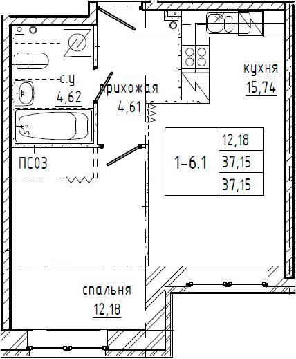 1-к.кв, 37.15 м²