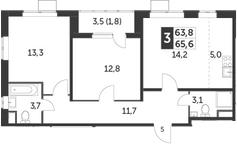 3Е-комнатная, 65.6 м²– 2
