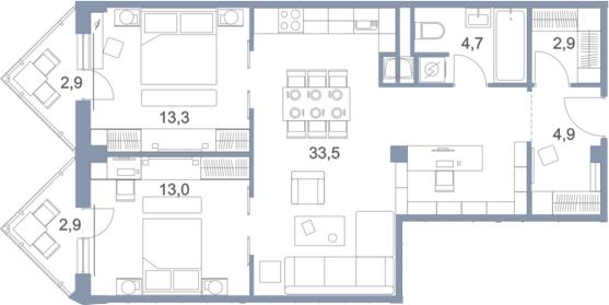 3-к.кв (евро), 92.94 м²