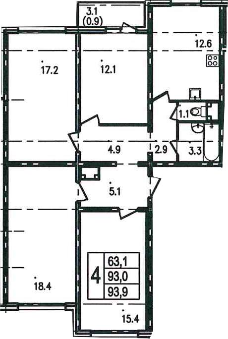 4-к.кв, 96 м²