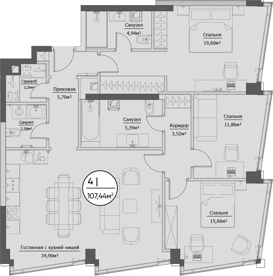 4Е-комнатная, 107.44 м²– 2