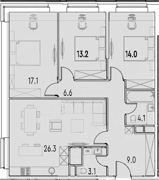 4Е-к.кв, 93.4 м²