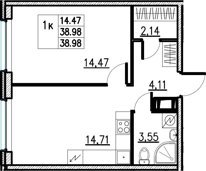 2Е-комнатная, 38.98 м²– 2