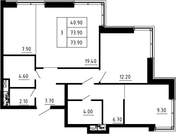3Е-к.кв, 73.9 м², 6 этаж